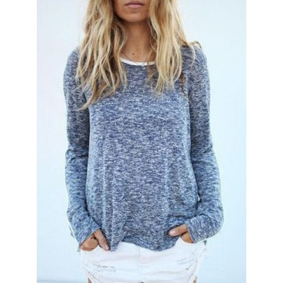 Casual Scoop Neck Long Sleeve Loose-Fitting Sweater For Women gray