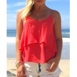 Casual Solid Color Spaghetti Strap Chiffon Tank Top For Women red white