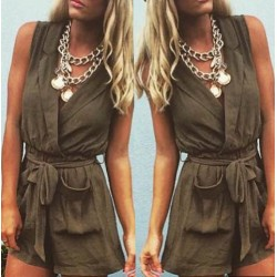Casual Solid Color Turn-Down Collar Romper For Women green