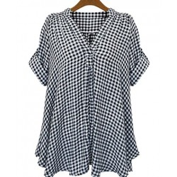 Casual Stand-Up Collar Short Sleeve Plaid Loose-Fitting Blouse For Women white black