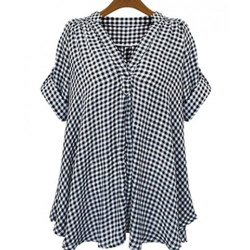 casual stand up collar short sleeve plaid loose fitting. Black Bedroom Furniture Sets. Home Design Ideas