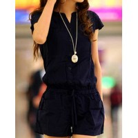 Casual V-Neck Short Sleeve Solid Color Pocket Design Romper For Women blue