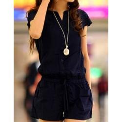 Casual V-Neck Short Sleeve Solid Color Pocket Design Romper For Women blue