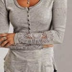 Casual Women's Scoop Neck Lace Splicing Long Sleeve T-Shirt BLACK, DEEP BLUE, DEEP GRAY, LIGHT BLUE, LIGHT GRAY, OFF-WHITE, WHITE, WINE RED