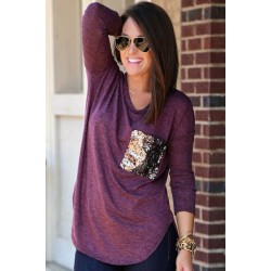 Chic Scoop Collar Long Sleeve Sequined T-Shirt For Women BLACKISH GREEN, DEEP GRAY, PURPLISH RED