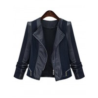 Chic Zipped Leather Patchwork Women's Jacket
