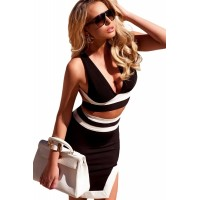 Classic Black White Bandage Cocktail Party Skirt Set