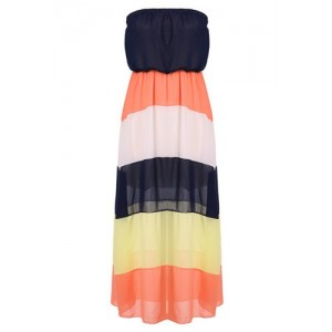 Color Block Fashionable Strapless Maxi Dress For Women blue orange white