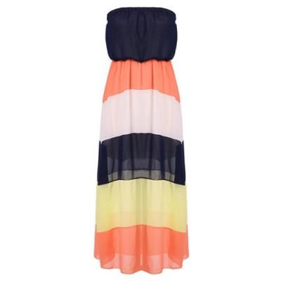 Color Block Fashionable Strapless Maxi Dress For Women blue orange white