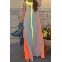Color Block Hollow Out Fashionable Scoop Neck Sleeveless Maxi Dress For Women gray