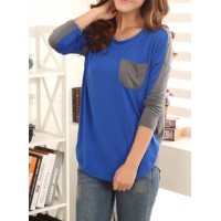 Color Block Ladylike Style Pocket Splicing Bat-Wing Sleeves T-shirt For Women blue green