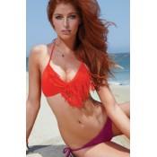 Contrast Color Tassel Bikini Set