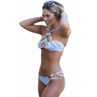 Dainty Straps Detail 2pcs Printed Tankini Swimsuit