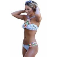 Dainty Straps Detail 2pcs Printed Tankini Swimsuit