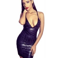 Deep V Neck Alligator Coated Foil Little Black Bandage Dress