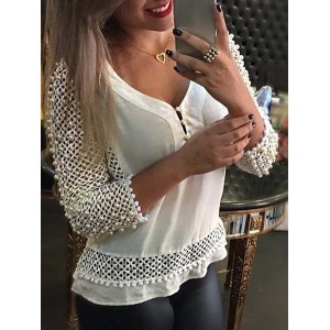 Elegant V-Neck Beaded Hollow Out 3/4 Sleeve Blouse For Women white