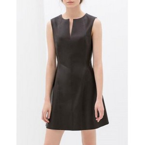 Elegant V-Neck Sleeveless Solid Color PU Leather Dress For Women black