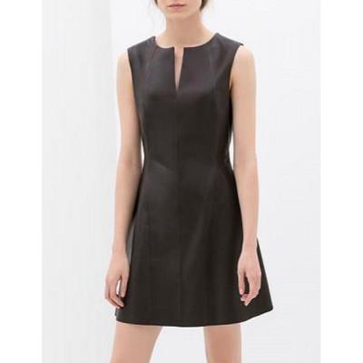 Elegant V-Neck Sleeveless Solid Color PU Leather Dress For Women black