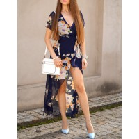 Elegant Women's Plunging Neck Short Sleeve Floral Printed High Slit Dress