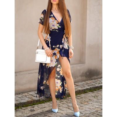 Elegant Women's Plunging Neck Short Sleeve Floral Printed High Slit Dress