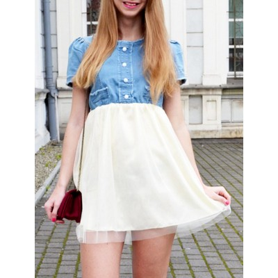 Elegant Women's Scoop Neck Short Sleeve Denim Splicing Chiffon Dress With Belt blue