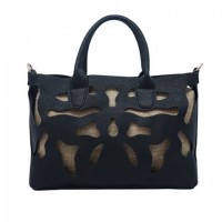 Elegant Women's Tote Bag With Engraving and PU Leather Design  APRICOT, BLACK, BLUE, BROWN, GREEN, ORANGE