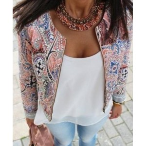 Ethnic Scoop Neck Print Long Sleeve Loose-Fitting Jacket For Women