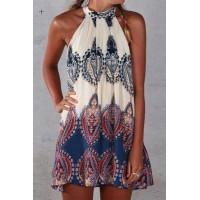 Ethnic Sleeveless Round Neck Printed Dress For Women blue white