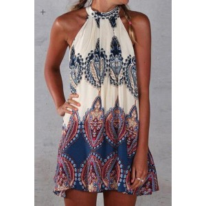 Ethnic Sleeveless Round Neck Printed Dress For Women blue white