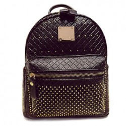 Fashion Women's Satchel With Rivets and Checked Design black white pink