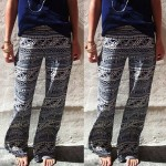 Fashionable Elastic Waist Geometric Print Loose-Fitting Exumas Pants For Women gray