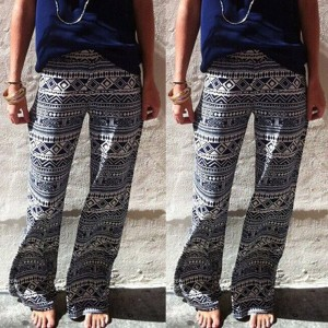 Fashionable Elastic Waist Geometric Print Loose-Fitting Exumas Pants For Women gray