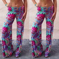 Fashionable Elastic Waist Loose-Fitting Printed Exumas Pants For Women purple