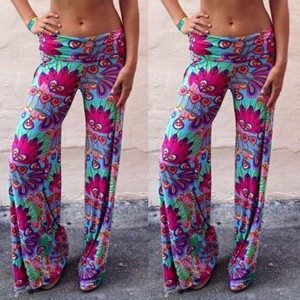 Fashionable Elastic Waist Loose-Fitting Printed Exumas Pants For Women purple