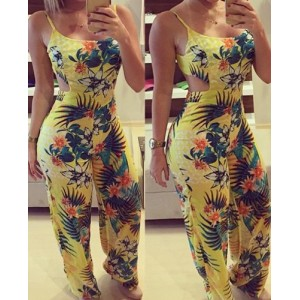 Fashionable Floral Print Spaghetti Strap Backless Jumpsuit For Women yellow