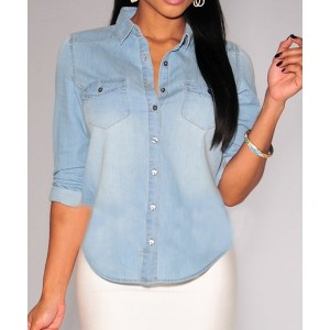 Fashionable Shirt Collar Long Sleeve Pocket Design Denim Shirt For Women blue
