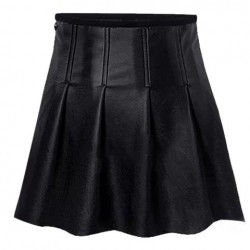 Fashionable Solid Color PU Leather Skirt For Women black