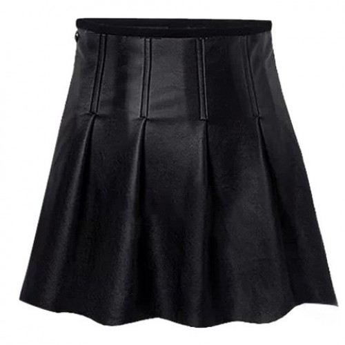 fashionable solid color pu leather skirt for black