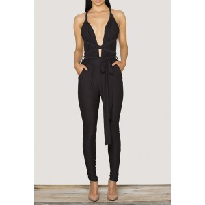 Fashionable Spaghetti Strap Plunging Neckline Bandage Slimming Women's Jumpsuit BLACK, GRAY, KHAKI