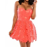 Fashionable Strapless Crochet A-Line Dress For Women orange