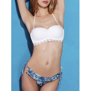 Fashionable Women's White Bra + Hit Color Print Briefs Bikini Suit white