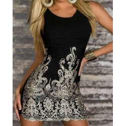 Floral Embroidery Bodycon Sexy Scoop Neck Women's Sundress black white