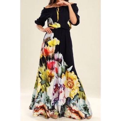 Flower Pattern Stylish Slash Neck Half Sleeve Maxi Dress For Women yellow black