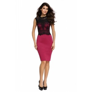 Glamorous Lace Detail Burgundy Bodycon Dress