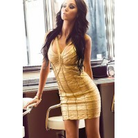 Gold Worshiper Bandage Dress