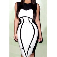 Graceful Round Neck Color Block Bodycon Dress For Women white black