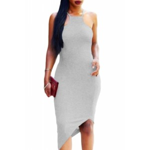 Gray Oblique Hem Spaghetti Strap Bodycon Dress