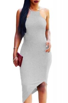 Gray Oblique Hem Spaghetti Strap Bodycon Dress