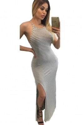Gray White Stripes Maxi Dress with Side Slit black blue