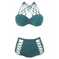Green Strappy Push-up High Waist Bikini Swimsuit